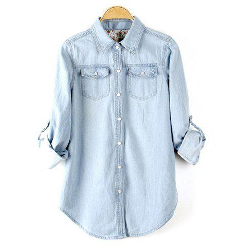 Single-Breasted Light Color Shirt Neck Denim Casual Style Women's Shirt - BLUE M