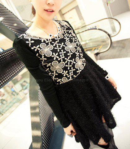 Ladylike Scoop Neck Embroid Floral Pattern Narrow Waist Long Puff Sleeves Women's Flared Dress - BLACK ONE SIZE