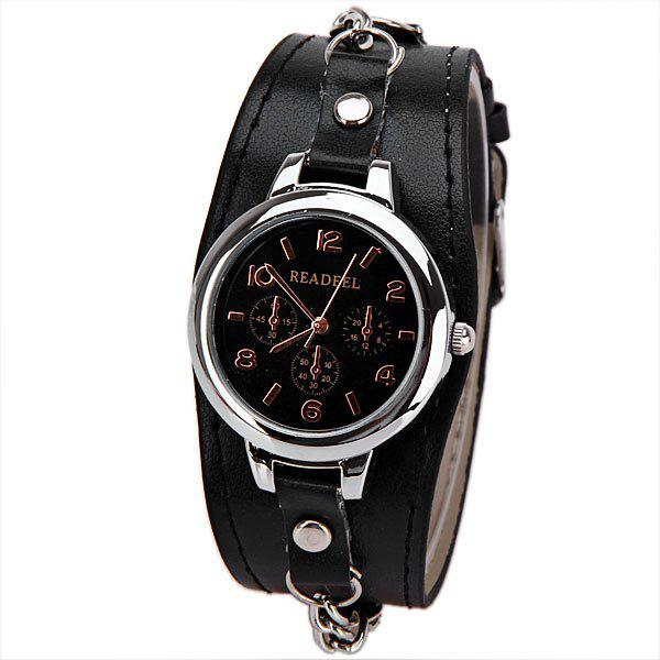 Cute Quartz Watch with Arabic Numbers Indicate Leather Watch Band for Women - BLACK
