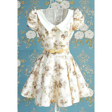 Vintage Peter Pan Collar Puff Sleeve Floral Print Bow Pleated Dress For Women - OFF WHITE M