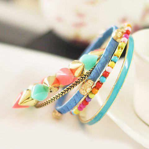5PCS Of Sweet Style Colorful Rivet and Skull Embellished Bracelets For Women - AS THE PICTURE