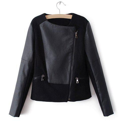 Women's Fashionable Zipper PU Leather Splicing Long Sleeved Jacket - BLACK S