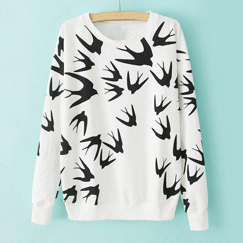 Casual Style Round Neck Swallow Print Contrast Color Long Sleeve T-Shirt For Women - WHITE ONE SIZE