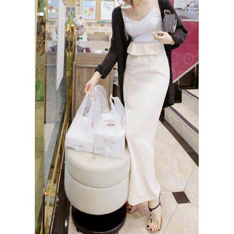 New Style Ladylike Style Flounce Pure Color Long Skirt For Women - WHITE S