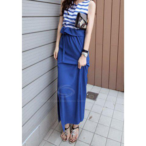 New Style Ladylike Style Flounce Pure Color Long Skirt For Women - BLUE S