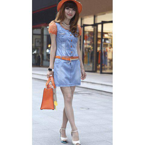 Charming Scoop Neck Splicing Voile Short Sleeves Color Block Slimming Jeans Women's Dress - BLUE L