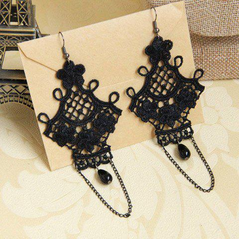 Pair of Flower Bead Tassel Openwork Drop Earrings - BLACK