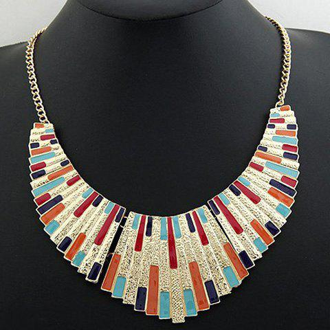 Alloy Fan Shaped Pendant Necklace - COLOR ASSORTED