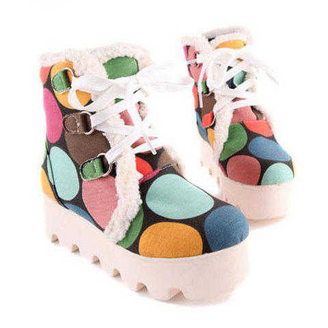 New Arrival Floral Print and Lace-Up Design Snow Boots For Women - COLORMIX 37