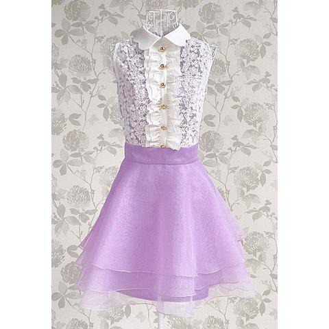 Women's Cute Lace Splicing Stringy Selvedge Multi-Layered Sleeveless Dress - PURPLE S