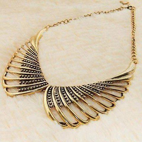 Girl Vintage Golden Chain Angel Wing Hollow Collar Shape Pendant Necklace