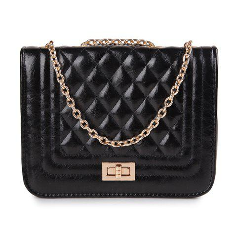 New Arrival Checked and PU Leather Design Shoulder Bag For Women - BLACK