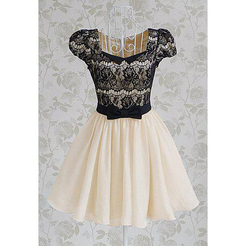 Vintage Sweetheart Neckline Lace Splicing Bow Short Sleeves Women's Dress - AS THE PICTURE S