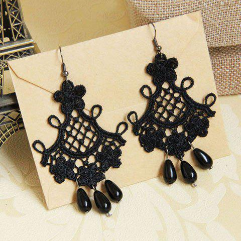 Pair of Beads Embellished Lace Drop Earrings - BLACK