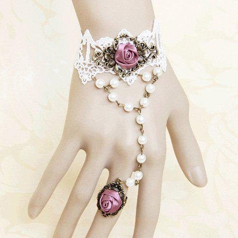 Ribbon Rose and Faux Pearl Design Lace Bracelet With Ring - AS THE PICTURE