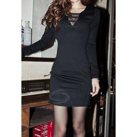 Modern Style V-Neck Front Voile Splicing Long Sleeve Cotton Blend Women's Dress - BLACK ONE SIZE