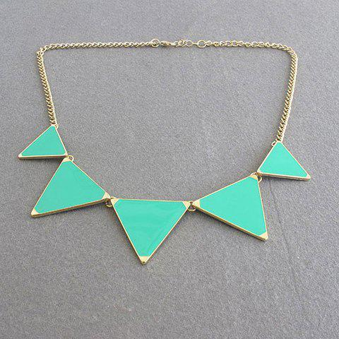 Simple Colored Glazed Triangle Pendant Alloy Sweater Chain Necklace For Women - GREEN