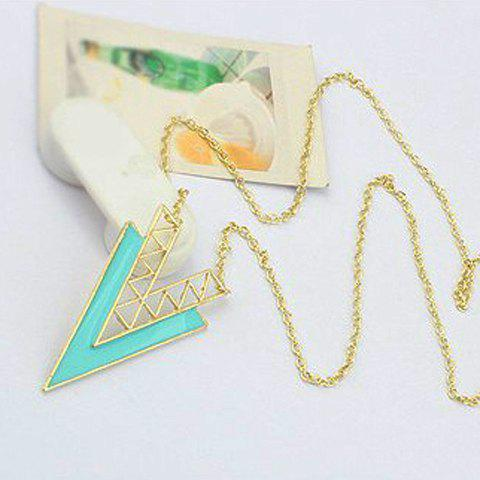 Simple Colored Glazed V Shaped Pendant Alloy Sweater Chain Necklace For Women - BLUE