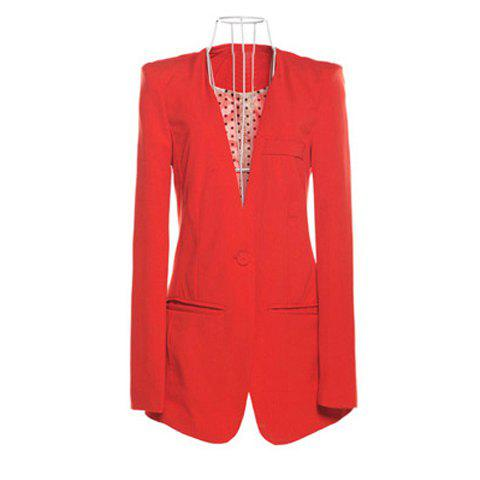 OL Style Collarless Polka Dot Lining One Button Design Long Sleeve Slimming Solid Color Women's Blazer - RED M