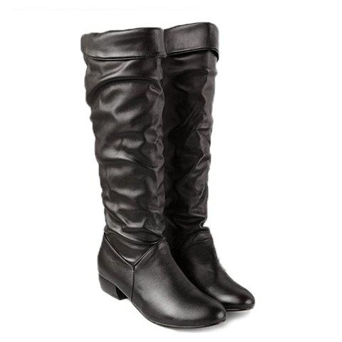 New Arrival Solid Color and Ruffle Design Knee-High Boots For Women - BLACK 39