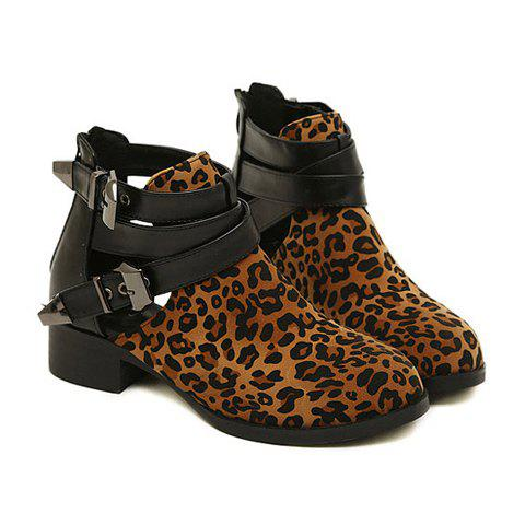 Trendy Leopard Print and Buckle Design Boots For Women - LEOPARD 39