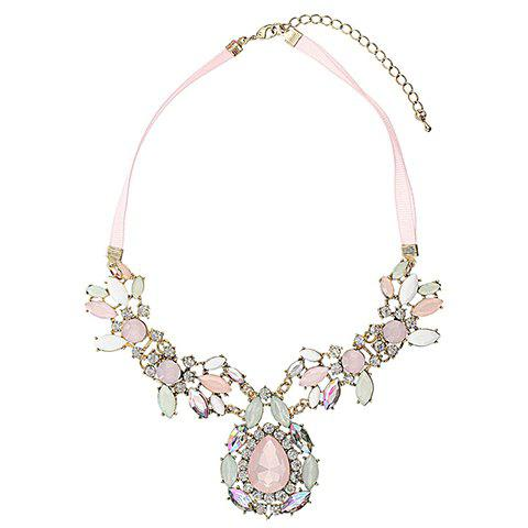 Gorgeous Rhinestoned Gemstone Embellished Waterdrop Shaped Pendant Neckla - AS THE PICTURE