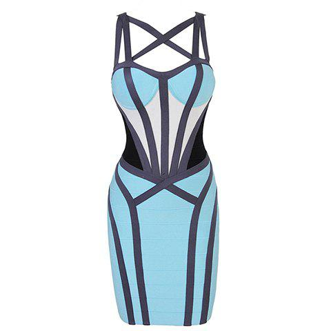 Women's Imitated Silk Color Matching Criss-Cross Bandage Hollow Out Backless Zipper Stylish Bandage Dress - AS THE PICTURE S