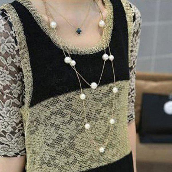 Elegant Faux Pearl Embellished Multi-Layered Alloy Sweater Chain Necklace For Women