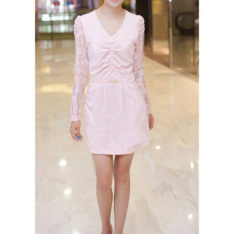 Refreshing V-Neck Solid Color Crease Design Lace Splicing Long Sleeves Women's Dress - PINK M