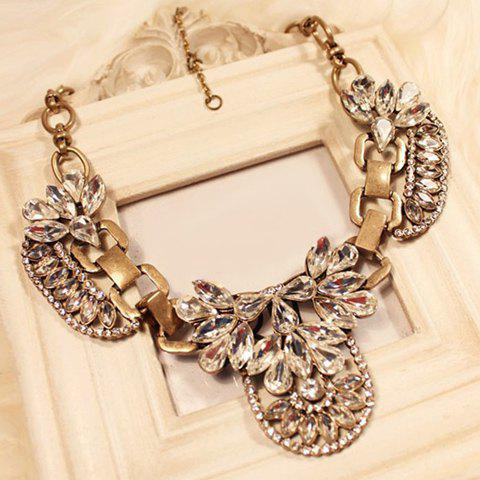 Flower Shape Rhinestone Embellished Pendant Necklace - AS THE PICTURE