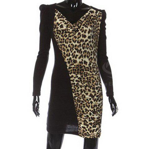 Charming V-Neck Splicing Leopard Long Sleeves Column Cotton Blend Women's Dresss - AS THE PICTURE ONE SIZE