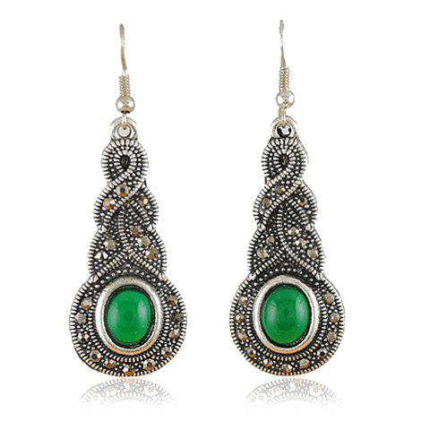 Faux Jade Alloy Drop Earrings - COLOR ASSORTED