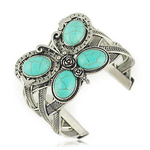 Stylish Turquoise Inlaid Butterfly Shape Wide Bracelet For Women