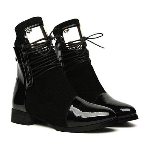 Casual Metallic and Patchwork Design Women's Short Boots - BLACK 38