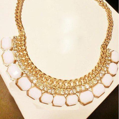 Faux Gem Embellished Fake Collar Shape Necklace - COLOR ASSORTED