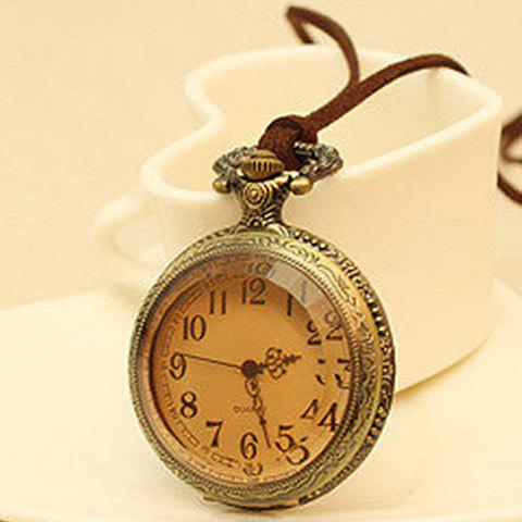 Pocket Watch Pendant Sweater Chain Necklace - AS THE PICTURE