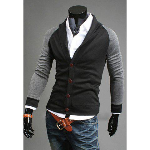 Korean Style Turndown Collar Single-Breasted Color Block Long Sleeves Cotton Blend Coat For Men - BLACK M