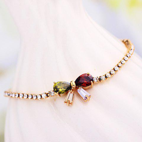 Exquisite Zircon Embellished Bowknot Decorated Adjustable Bracelet For Women