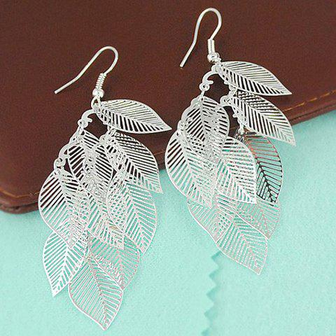 Simple Style Multi-Layered Leaves Design Openwork Earrings - SILVER