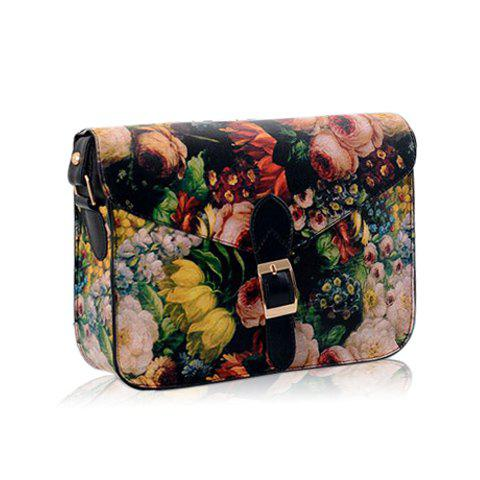 Vintage Floral Print and Hasp Design Crossbody Bag For Women - BLACK