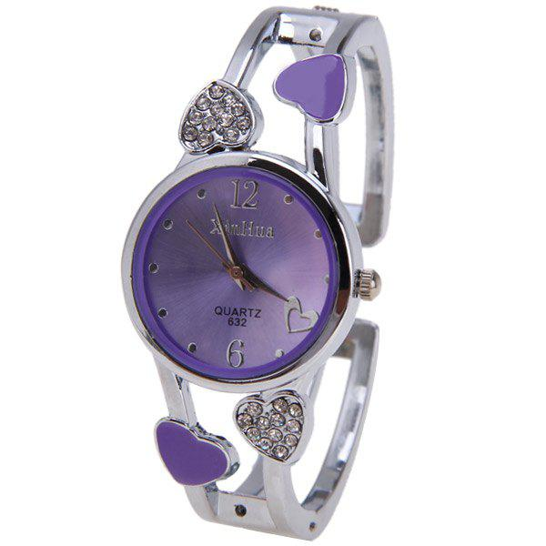 Beautiful Bracelet Watch with Heart Shape Diamond Inlay Round Dial 2 Arabic Numbers and Mini Heart Dots Hour Marks - Yellow - PURPLE