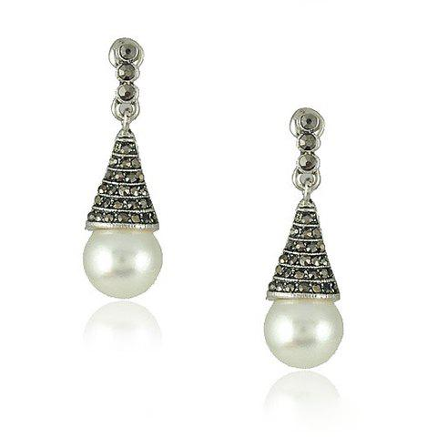 Pair of Chic Rhinestone Embellished Faux Pearl Pendant Carved Design Earrings For Women