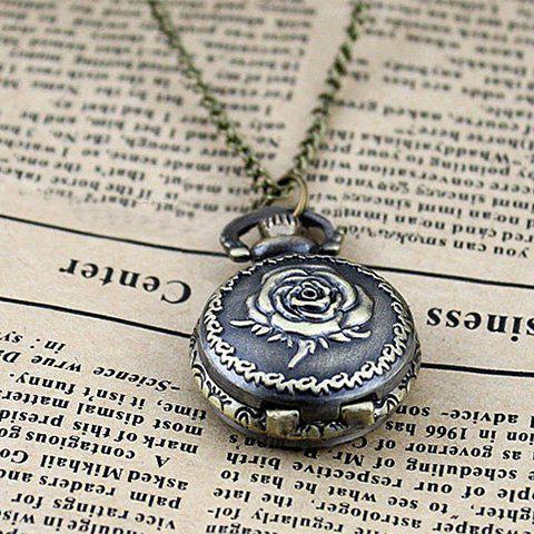 Retro Fashionable Flower Pocket Watch Alloy Necklace For Men or Women - AS THE PICTURE