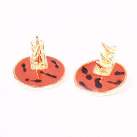 Pair Of Characteristic Rivet Embellished Alloy Round Stud Earrings For Women