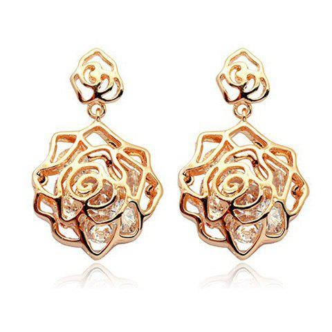 Rhinestone Openwork Rose Drop Earrings - AS THE PICTURE