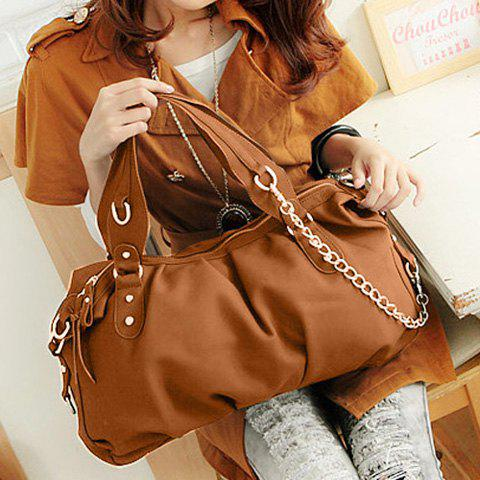 Fashion Style Tote and Chain Design Women's Street Level Handbag - CAMEL