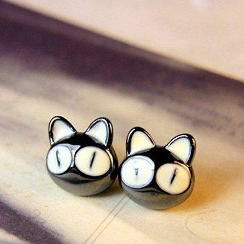 Pair of Sweet Colored Cat Decorated Earrings For Women