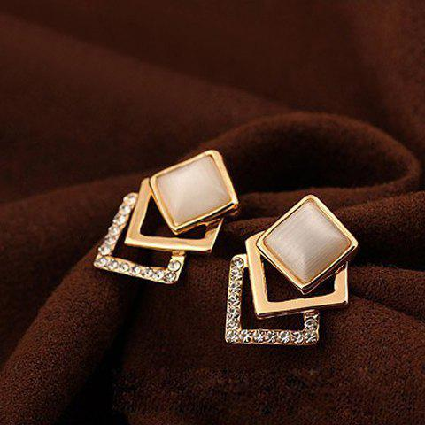 Fake Opal Rhinestone Embellished Square Earrings - AS THE PICTURE