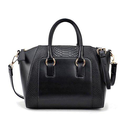 New Arrival Tote and Crocodile Veins Design Street Level Handbag For Women - BLACK