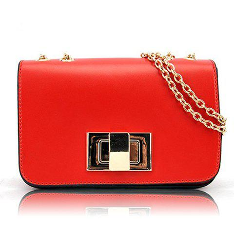 New Arrival Candy Color and Chains Design Shoulder Bag For Women - RED